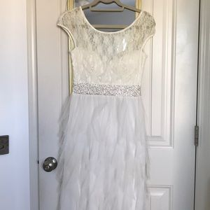 S Roberta White Lace, Tulle, Beaded Prom Dress